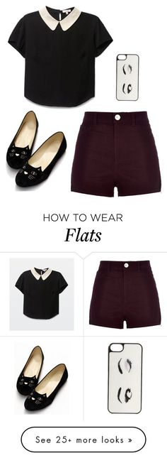 """Untitled #37"" by buster-bess-brownie on Polyvore featuring River Island, Kate Spade, croptop, shorts, maroon, cats and iphonecase"