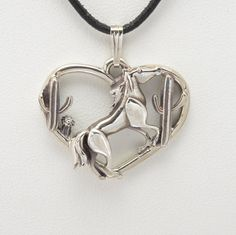 """Sterling Silver Horse Pendant w/18"""" Sterling Chain by Donna Pizarro fr her Animal Whimsey Collection of Fine Horse Jewelry"""