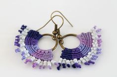 Boho textile beaded macrame hoop dangle earrings purple violet