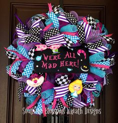 Alice in Wonderland wreath is perfect for brightening up your front door