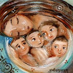 Mom with four kids, brown red hair, loving family, signed motherhood art print - Committed Four Kids, 4 Kids, Art For Kids, Mother Art, Mother And Child, Drawing For Kids, Painting For Kids, Frida Art, Mothers Love