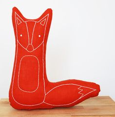 embroidered fox pillow in burnt orange | Kate Durkin
