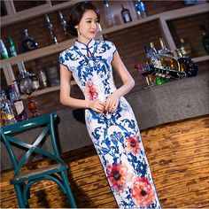 Elegant Women Long vestidos Cheongsam Long Qipao Vintage Chinese Traditional Dress Size:S M L XL XXL