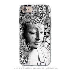 Black and White Buddha - Artistic iPhone 8 Tough Case - Zen Dual Layer Protection - Bliss of Being