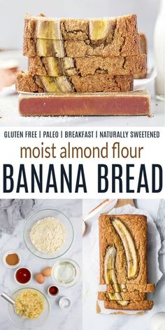 This healthyAlmond FlourBanana BreadRecipe makes a moist and delicious loaf of banana bread that your whole family will love. It's a tastyPaleo and gluten-free breakfast bread filled with banana flavor! #bananabread #paleo #glutenfree #healthybreakfasts #breakfastbread #breadrecipes #joyfulhealthyeats #breakfastideas #bananabreadrecipe Banana Recipes Clean Eating, Healthy Banana Recipes, Banana Snacks, Banana Dessert Recipes, Banana Bread Recipes, Healthy Eats, Almond Banana Bread, Healthy Banana Bread, Ripe Banana Recipe