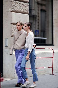 sisters in arms. #CarolineBraschNielsen + #TildaLindstam #offduty in Paris.