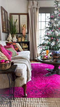 Great source for gorgeous vintage overdyed rugs, persians, kilims and more! Those Curtains! Interior Decorating, Interior Design, Decorating Ideas, Thanksgiving Table Settings, Christmas Home, Christmas Decor, Xmas, Bohemian Decor, Bohemian Gypsy