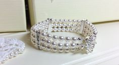 Any colour Triple strand, Art Deco Swarovski pearl, Crystal cuff bracelet, with diamante spacers and clasp, wedding bracelet, bridal cuff by dazzlejewellery1 on Etsy