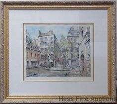 Lg Fine Orig Pierre Cambier French Street Scene Watercolor Painting Park West #Impressionism