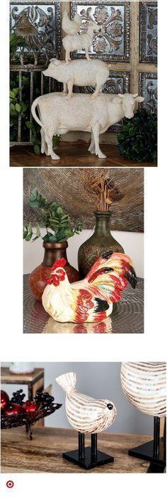 Shop Target for decorative & sculpture you will lo. Rustic Farmhouse, Farmhouse Style, Animal Decor, Tray Decor, French Country Decorating, Kitchen Decor, Kitchen Ideas, Garden Art, Rustic Decor