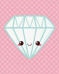 Kawaii Diamond Art Print by Katie White Kawaii Anime, Chibi Kawaii, Kawaii Doodles, Kawaii Art, Kawaii Drawings, Cute Drawings, Foto Cartoon, Dibujos Cute, Diamond Art