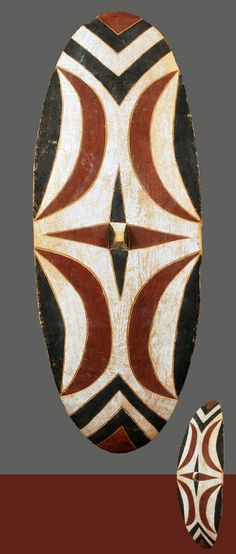 Africa | Shield from the Tutsi people of Rwanda | Wood and polychrome pigment | Early 20th century