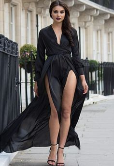 Black Satin look double split maxi dress
