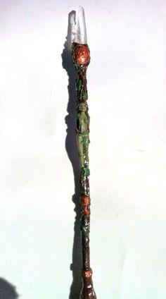 Earth Goddess Magic Wand with clear quartz point and Quiastolite  www.facebook.com/inspirhadas
