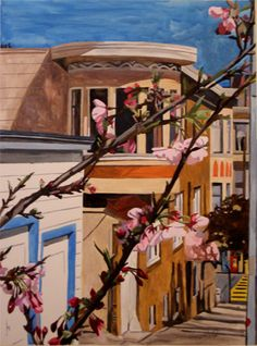 """""""Corner Blossoming""""  Watercolor, 22"""" x 30"""" painting."""