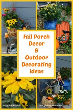 Lots of super cute ideas for simple fall porch decor and outdoor fall decorating ideas. Includes traditional fall decor items like pumpkins, fall flowers, scarecrows, gourds, etc. along with vintage items like old baskets, milk cans, wagons, bushel baskets and lots of other junk. #falloutdoordecorations #fallfrontporchideas #falljunkgardens Rustic Garden Decor, Vintage Garden Decor, Garden Decorations, Flower Decorations, Vintage Milk Can, Vintage Items, Porch Decorating, Decorating Ideas, Decor Ideas