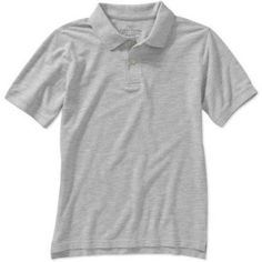 Faded Glory Boys' Short Sleeve Solid Polo Shirt, Size: 14/16, Gray