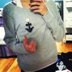 DIY $5 drugmart crop sweatshirt. i spent literally 3 hours sewing buttons on it in the shape of an anchor tonight. feelin' crafty right now!
