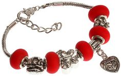 Mother's Daughter's Charm Bracelet with Removable Pandora Compatible Italian Murano Glass Beads for Moms and Daughters in Mate Red, 7'   1' Extender *** Learn more by visiting the image link.
