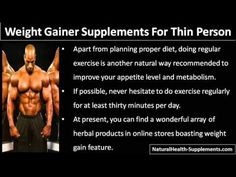 This video describe about natural weight gainer supplements that help a thin and underweight person.