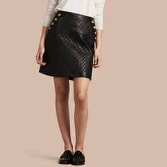Burberry Quilted Lambskin A-line Skirt In Black Buy Clothes Online, Online Clothing Stores, Military Skirts, Burberry Skirt, Quilted Skirt, Skirt Images, Burberry Women, Fashion History, A Line Skirts