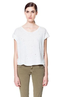 T - SHIRT WITH HOLES - T - shirts - Woman | ZARA United States