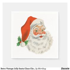 Retro Vintage Jolly Santa Claus Christmas Napkins Retro Vintage, Vintage Paper, Christmas Napkins, Ecru Color, Office Gifts, Seasonal Decor, Keep It Cleaner, White Ceramics, Santa