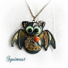 Steampunk bat. Bat pendant. Clay bat. Clay animal. Polymer clay. Steampunk necklace. Green necklace.