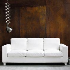 Canapé 3 places en croûte de cuir ivoire