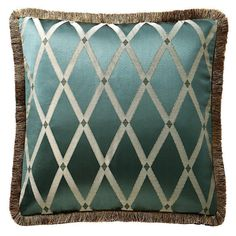 The beautiful Anora sham features a large scale lattice motif in jade and ivory with a gold fringe border and reverses to a delicate woven diamond pattern in ivory.