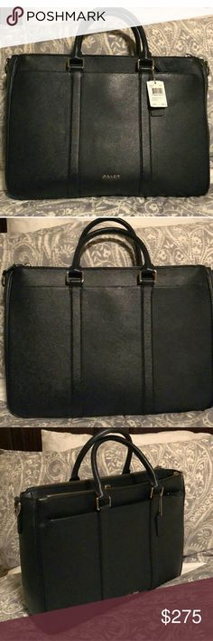 a5d6f5672cb2 Coach Perry Metropolitan Tote briefcase Midnight blue crossgrain leather.  Inside zip