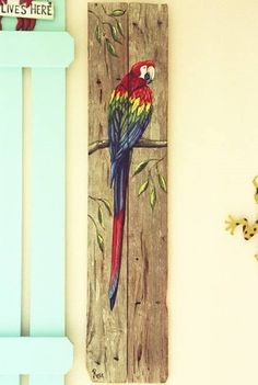 Parrot Hand Painted on Wood Reclaimed Fence Boards by roseartworks
