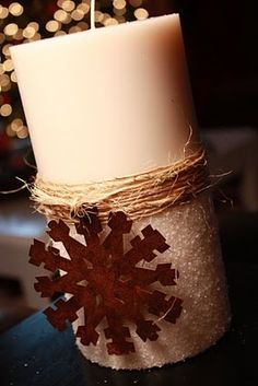 Epsom salt, twine & rustic ornament. Cute & easy gift! I have the salt and the twine. Just need ornaments and candles. Will look around