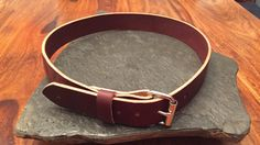 Leather Belt  Burgundy Latigo 11oz full grain leather.