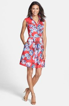 A faux wrap shirtdress in a gorgeous floral print with a fit and flare bottom is perfect for a pear shaped figure.