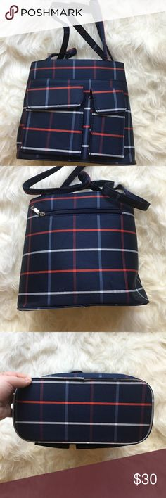 Navy blue checker print handbag OFFERS WELCOME 💖no trades💖 Never used and still comes with original tag and paper stuffing inside purse. 3 velcro close pockets in front of purse, 1 small, 1 medium, and 1 large. 2 large zip shut compartments inside of purse. 1 large zip shut compartment in back of purse. 2 non-adjustable and non-removable straps. Unfortunately brand and material content of purse is unknown Measurements: Height: 9 1/2 in. Length: 11 in. Width: 5 1/2 in. Bags