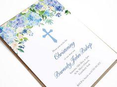 Blue Floral Baptism Invitation Christening Invite
