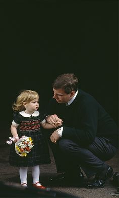 Such a sweet pic! Princess Beatrice with her father, Prince Andrew, after visiting her new baby sister, March 1990