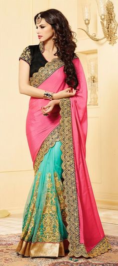 Presenting new NET #saree collection for brides! PINK + TURQUOISE BLUE order at flat 15% off + free shipping. #Indianwedding #wedding #colorblock #partywear