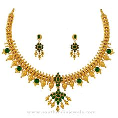 Gold Necklace with Green Stone, 22K Gold Necklace Designs, 22K Gold Green Stone Necklace Designs.