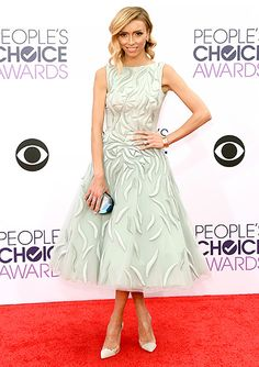 Giuliana Rancic The E! news correspondent hit the carpet in a poofy mint green dress by Tony Ward and a mirrored clutch.