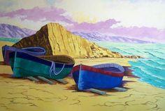 Titulo: Barcas en la playa, óleo sobre lienzo, 116 x 81, 1000 €