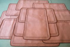 Set of 12 Vintage Pink and Brown Linen Placemats Place Mats Hand Made Handmade 6 x 2