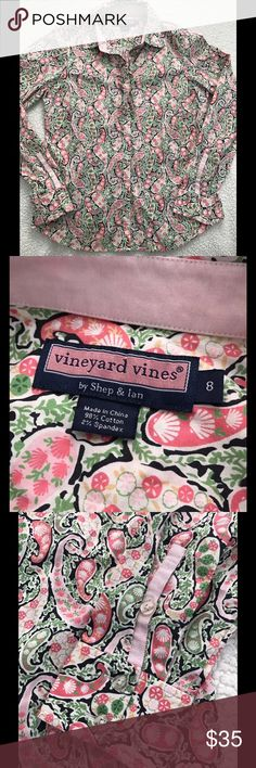 Vineyard Vines Pink Paisley Ruffle Front Shirt EUC! Sz 8. 98% cotton. 2% spandex.   Approximate measurements:  Armpit to armpit: 19 Length: 25 Vineyard Vines Tops Button Down Shirts