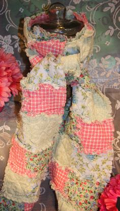 Rag Quilt Long Scarf by tleaver on Etsy, $16.95