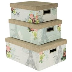 Amazon.com: Nested Steamer Box / Storage Box With Burlap Lid (Set Of