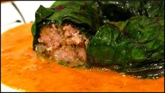 Beef Stuffed Swiss Chard Rolls with a Roasted Red Pepper Sauce