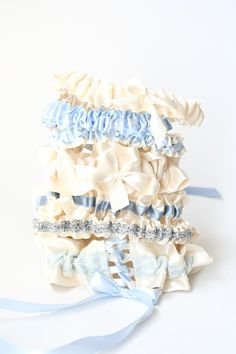 Fun ivory and blue wedding garters-by The Garter Girl
