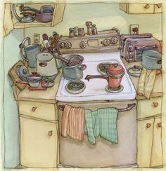 water color - lol, how is this my exact kitchen???!