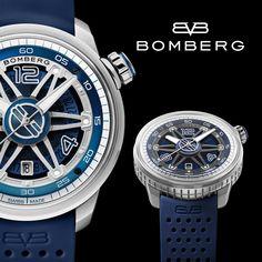 Bomberg BB-01 Automatic Blue Hier ist eine Uhr, die dem festlichen Geist und dem kreativen Drang entspricht. Das Zifferblatt dieser schönen Automatikuhr ist in mehreren Blautönen gehalten und harmoniert zu einem brillanten Ganzen. Das dunkelblaue Silikonarmband passt perfekt zu den Farbtönen des Zifferblatts, und die Krone, welche sich auf der 2-Uhr-Position befindet, wurde mit einem blauen Tupfer versehen. Eine Reihe von geschwungenen Linien bilden eine sechszackige Figur über dem… Breitling, Blue, Accessories, Grenades, Automatic Watch, Simple Lines, Jewelry Accessories